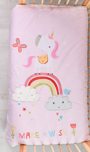 Unicorn baby quilt suitable for cot and cot bed, beautiful pink quilt featuring a unicorn and rainbow.