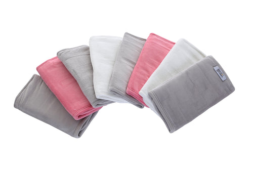 Grey and white bumper wraps with a hint of rose, in super soft velvet fabric, perfect for any cot/cot bed.
