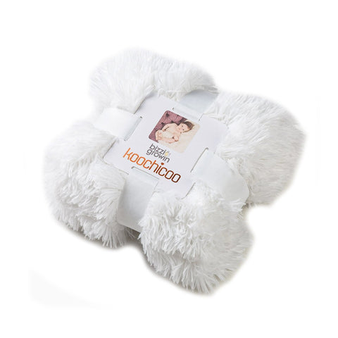 Koochicoo Fluffy Ice White Baby Blanket