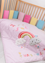 Load image into Gallery viewer, Unicorn baby quilt suitable for cot and cot bed, beautiful pink quilt featuring a unicorn and rainbow.