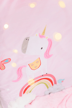 Load image into Gallery viewer, Girls pink cot bed quilt featuring a stunning unicorn and rainbow applique, the perfect cot bed quilt for any little girls nursery.