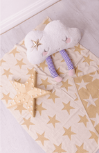 Load image into Gallery viewer, Gold star knitted cotton baby blanket, glamorous and glitzy all in one perfect baby blanket.