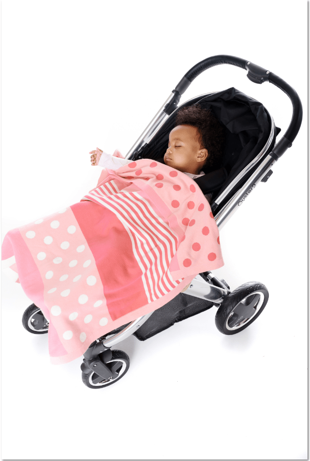 Pink patterned baby blanket, Kaleidoscope is the perfect mix of bold patterns in blush pinks and cream.