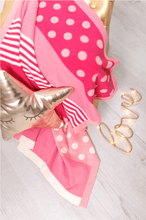 Load image into Gallery viewer, Pink baby blanket in a mix of patterns perfect for any little girl.
