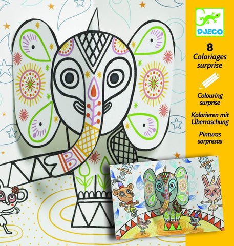 Design By Djeco Arte y Manualidades +5 Set para Colorear  Pop and the Elephant DJ09638