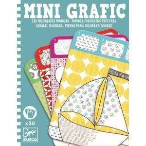DJECO Arte y Manualidades Tarjetas para colorear Mini Grafic Doodle Colouring Pictures DJ05386