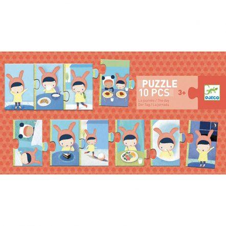 DJECO Puzzles y encajes +3 Puzzle Duo-trio The Day DJ08179