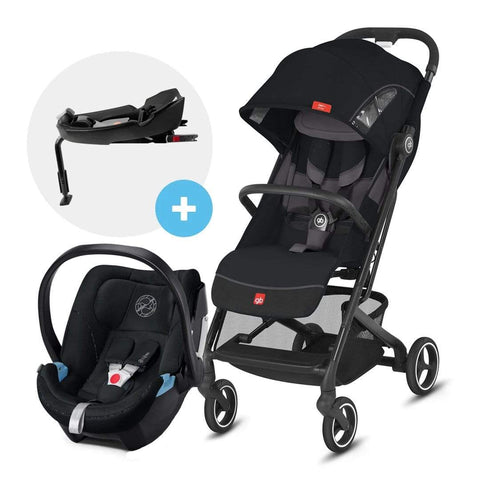 GB Coche Travel System Coche de Paseo compacto Qbit Plus All City Velvet Black + Aton 5 + Base GB1567200171598