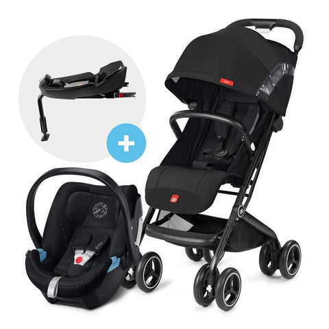 GB Coche Travel system Coche de Paseo compacto Qbit Plus Satin Black + Aton 5 + Base GB1558900596630