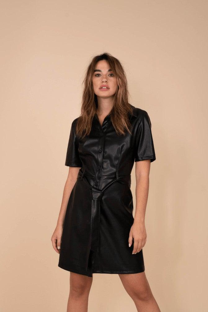 Eco Leather Mini Dress - Black