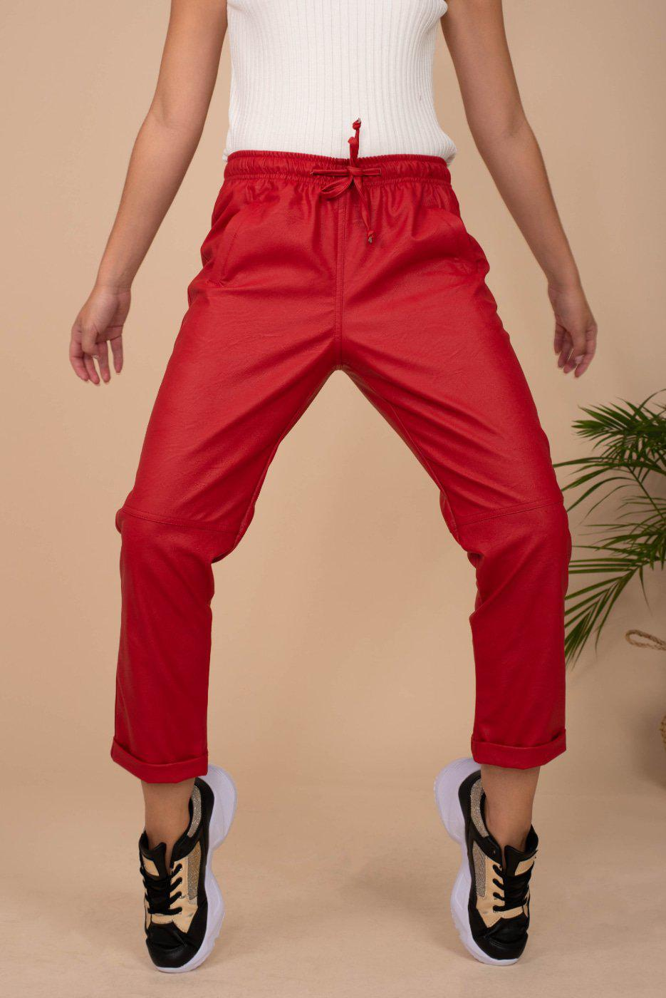 Eco Leather Pants / Red