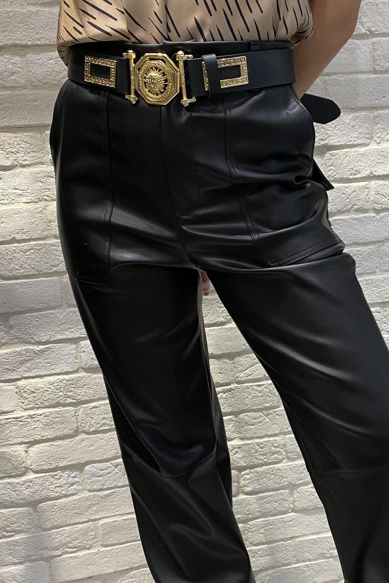 Loose Fit Leather Pants - Black