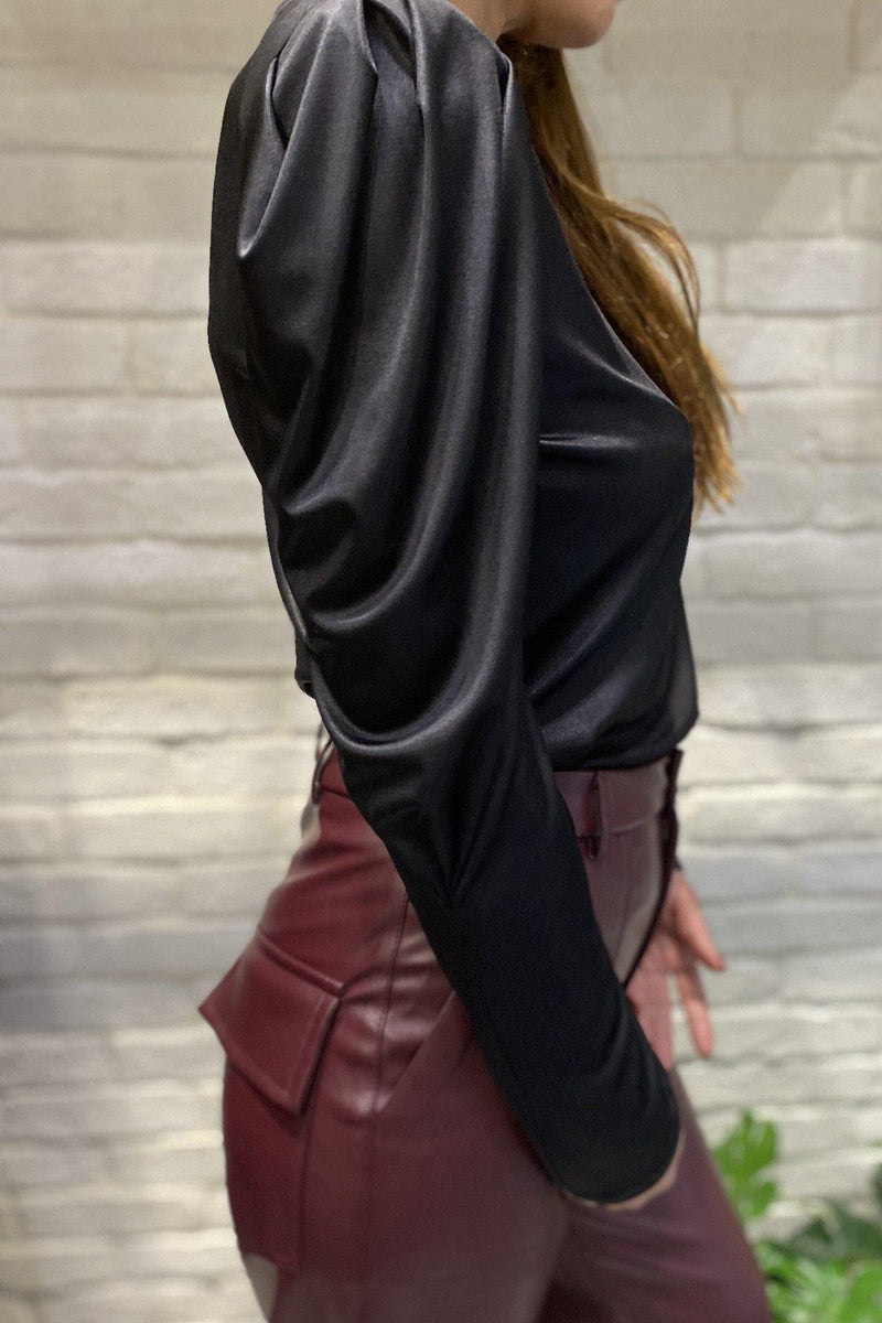 Loose Fit Leather Pants - Bordeaux