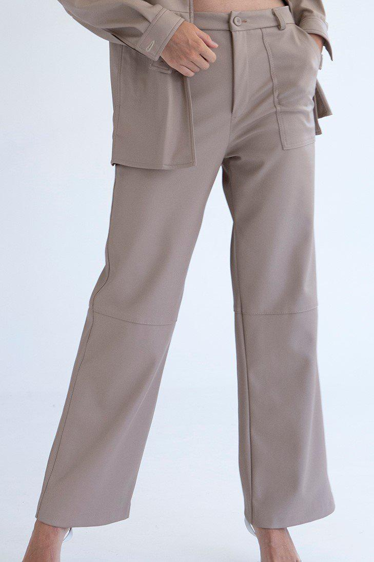 Loose Fit Leather Pants - Beige