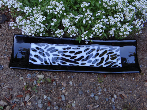 Zebra Pattern Fused Glass Channel Plate 13 x 4 Inches