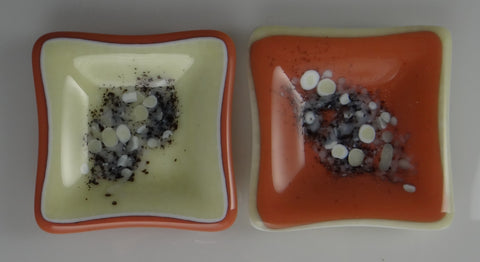 Fused Glass 3 Inch Dishes with River Rock Design in Salmon & Vanilla