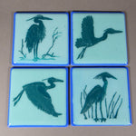 Fused Glass Heron Coasters
