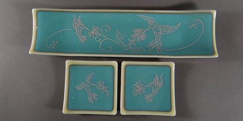 Butterfly Sandblasted Channel Plate with Side  Dishes