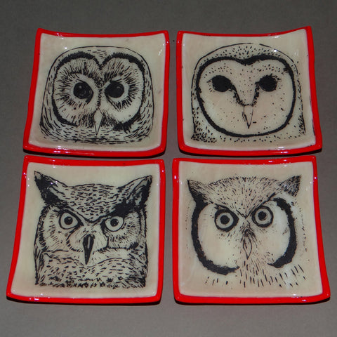 Fused Glass Owl Dishes