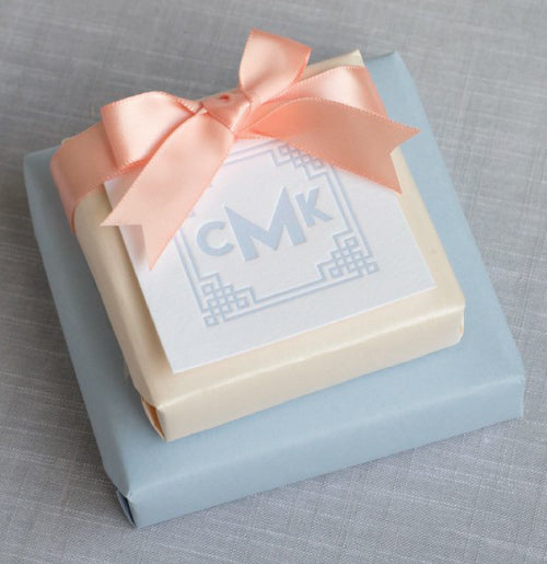 3-letter monogram gift tag. Shown here in pale blue.