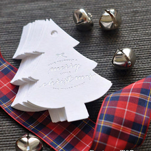 50 Letterpress Christmas Tags with Silver Foil