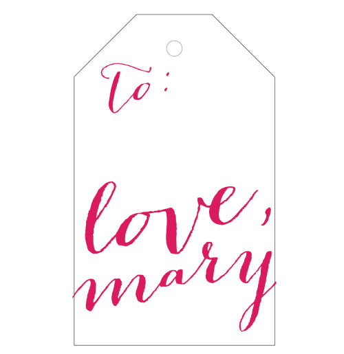 Letterpress gift tag with love! You can add your name and choose from 38 colors.