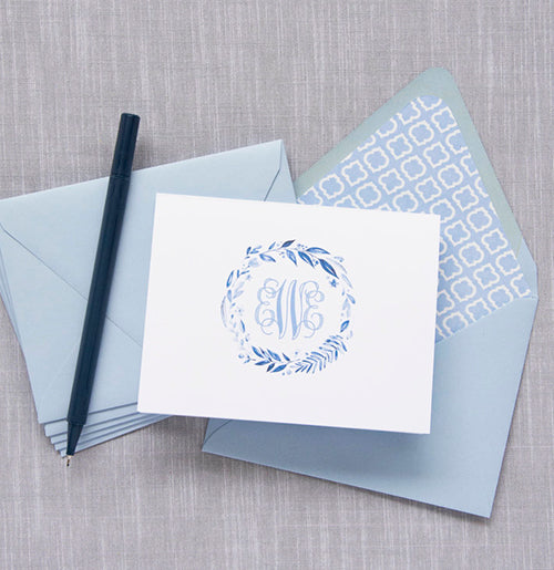 Beautiful folded notecards with 3-letter monogram. Includes beautiful lined envelopes in blue.