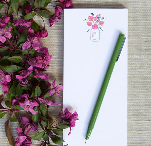 Double-thick Notepad with 3-Letter Flower Monogram