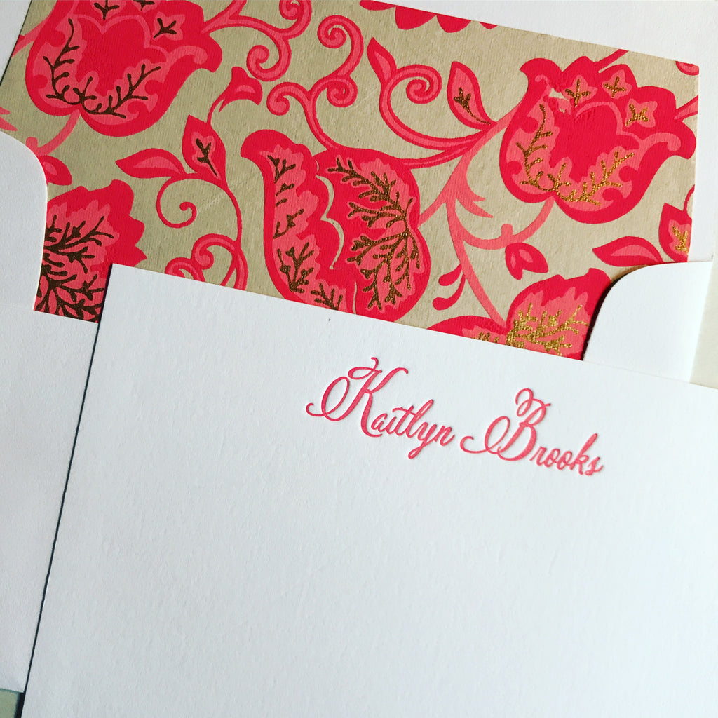 50 Letterpress Cards with Gorgeous Envelope Liner