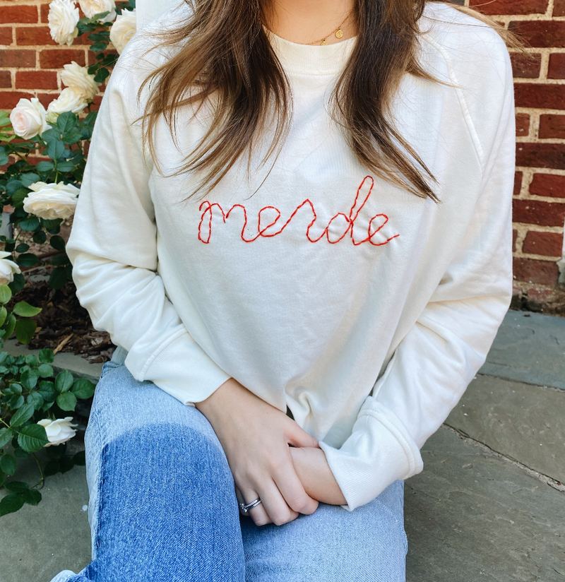 Hand-Embroidered Merde Pullover