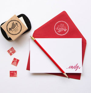 Cherry red personalized stationery. Set includes an address stamper. White stamping pad sold separately.
