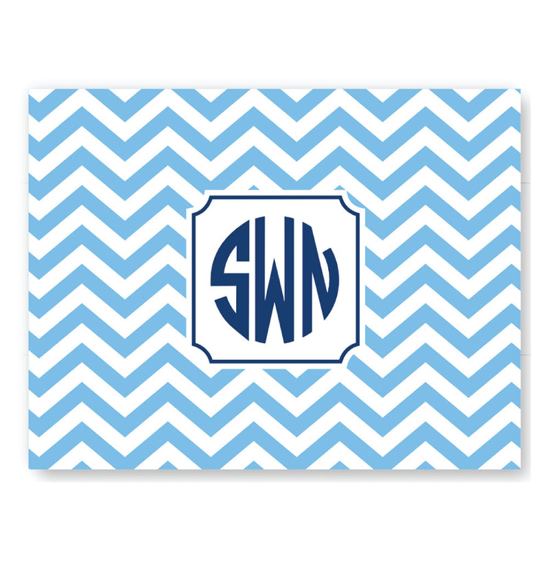 25 Classic Blue Chevron Foldover Notes
