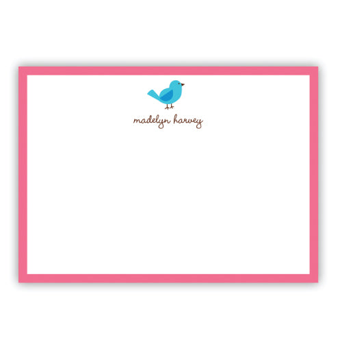 Sweet flat note cards for young girls. Features a blue bird and hot pink border. Personalize with a first and last name.