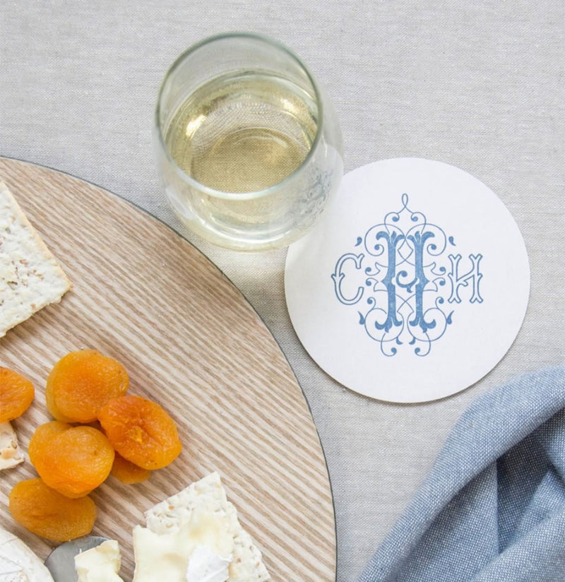 Coasters with Monogram in Blue