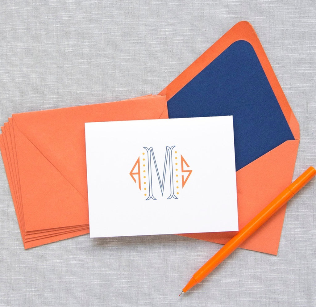 Coral and Navy Foldover Notes