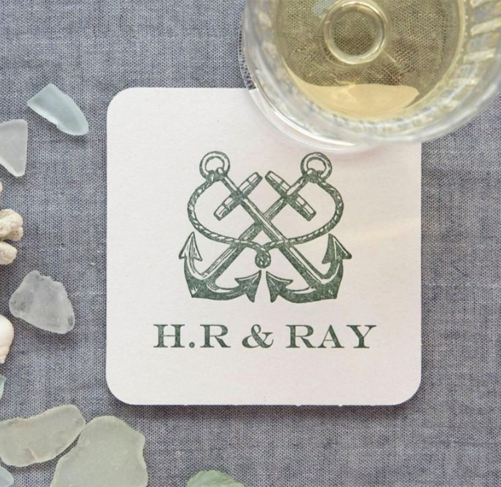 50 Custom Anchor Letterpress Coasters