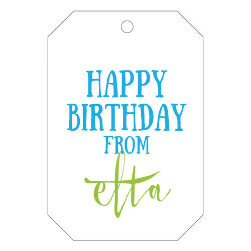 Personalized happy birthday gift tags. Letterpress printing with two colors.