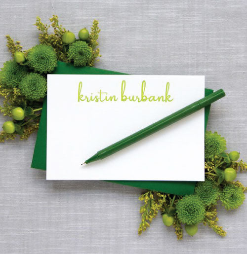 Beautiful letterpress enclosure cards with citrus green type. Includes a dark green envelopes. We like to use a white gel pen for addressing with this (not included).