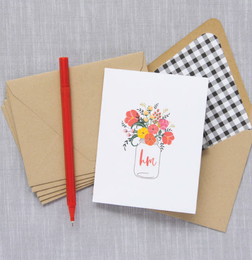 Sweet floral folded notes with 2-letter monogram. Great gift.