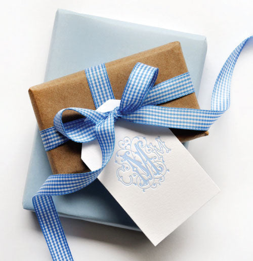 Beautiful 3-letter monogram gift tags, shown here in light blue.