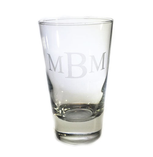 Four High Ball Glasses with Three Letter Monogram