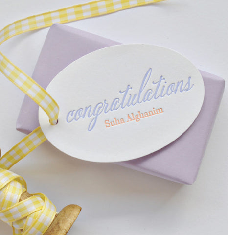 25 Custom Lavender Letterpress Gift Tags