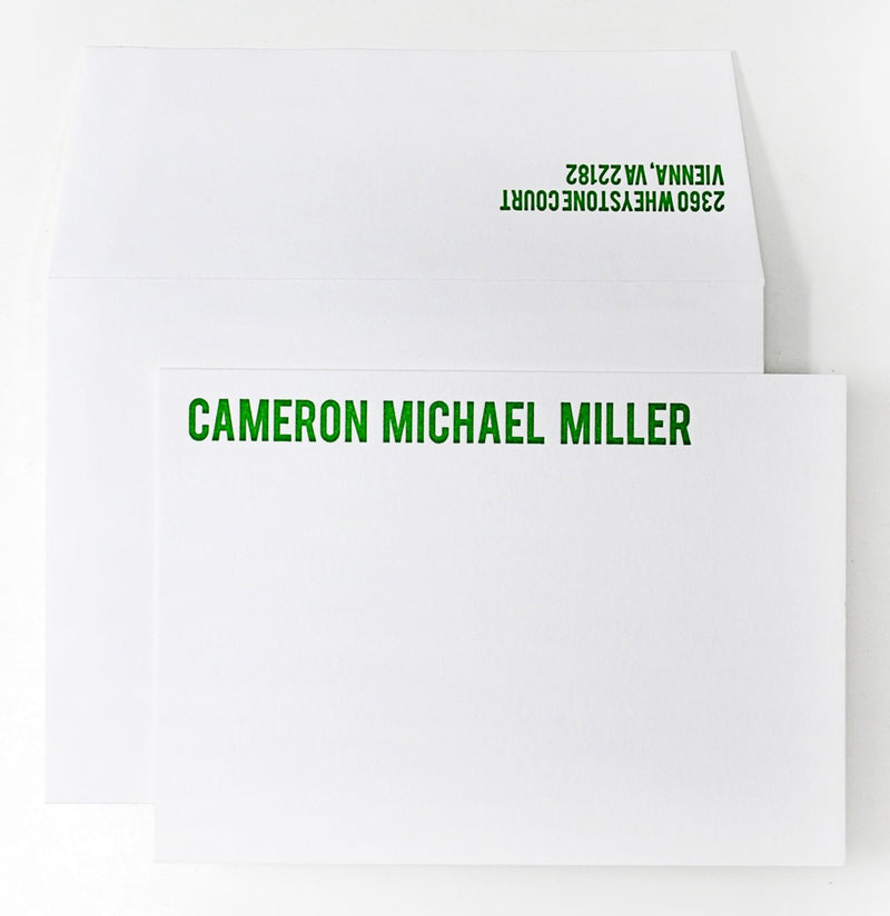 50 Letterpress Cards + Envelopes with Lucky Green Ink