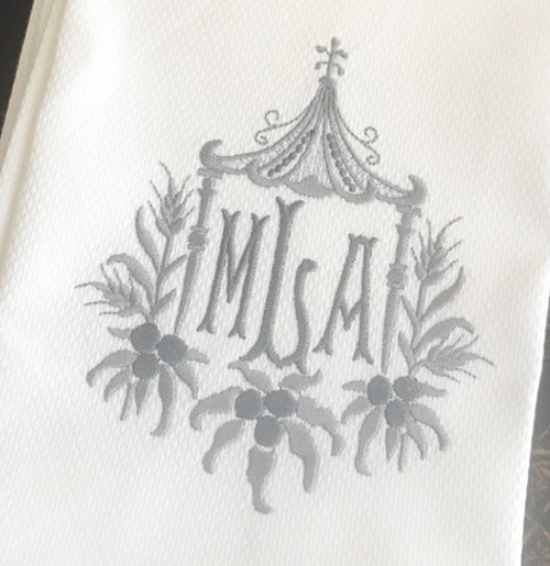 Pique Guest Towels with Bamboo 3-Letter Monogram