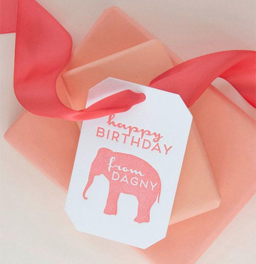 Peach Letterpress Gift Tags with Elephant