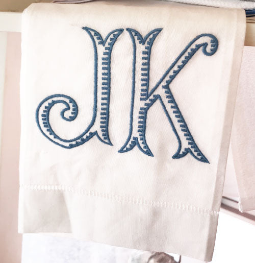 Classic Hemstitch Hand Towel with 2-Letter Monogram