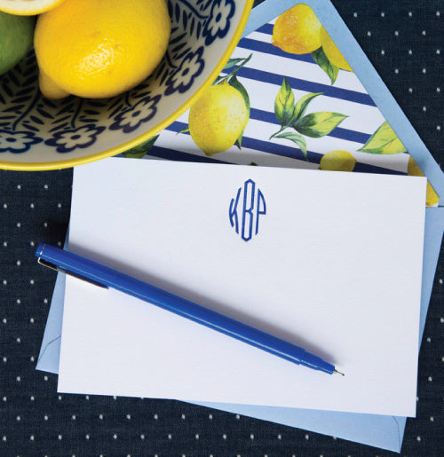 50 3-Letter Monogram Notes with Lemon and Navy Liner