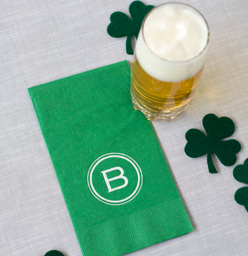 50 Letterpress Lucky Green Guest Towels