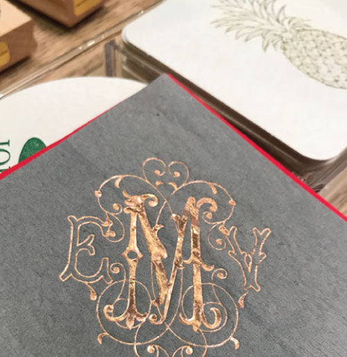 Cocktail napkins with lovely 3-letter rose gold monogram.