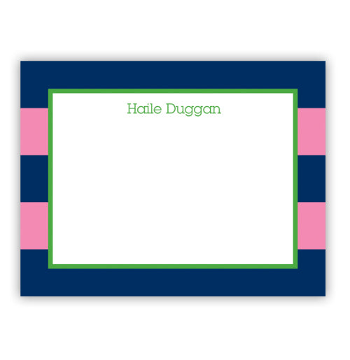 Navy and Pink Striped Cards - #22220
